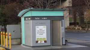 pay-per-use public toilet in Toronto from the article A COVID-19 lesson: Ontario cities need toilet training