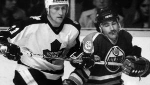 two men playing hockey from the article Remembering the Swedish invasion of the Toronto Maple Leafs