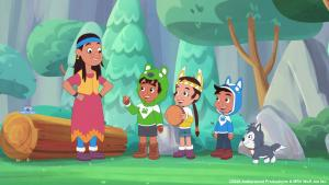 Image of four animated television characters. from the article How 'Wolf Joe' teaches children Anishinaabe values