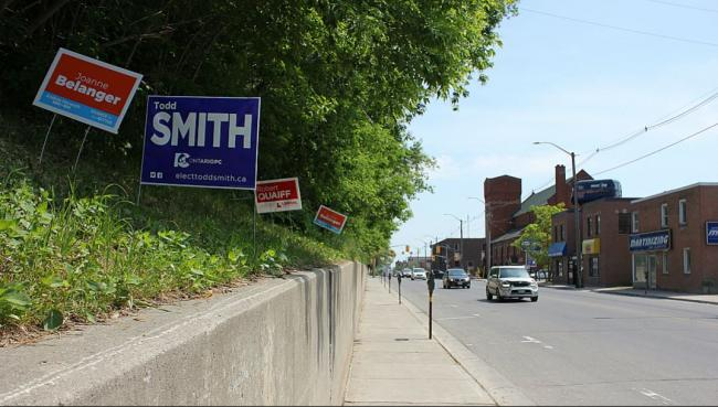 campaign signs along the road