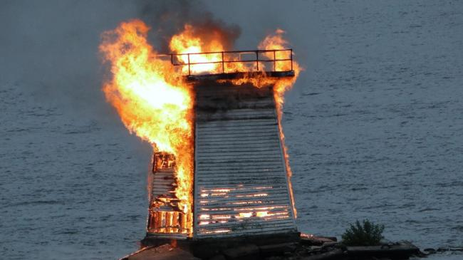 Lighthouse on fire.