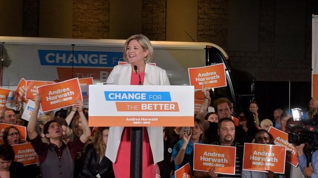 Andrea Horwath at a podium
