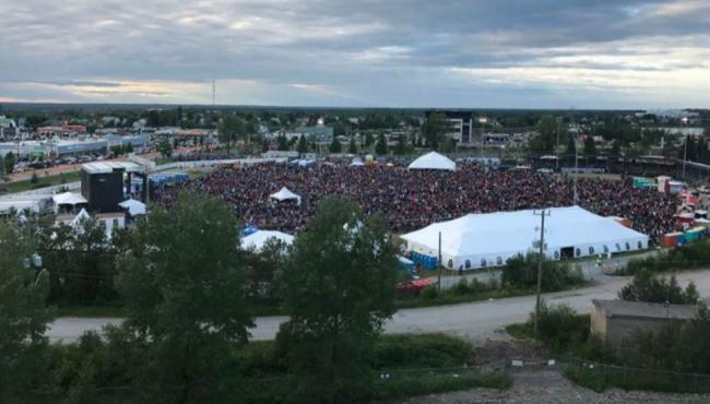 crowds at a music festival in Timmins
