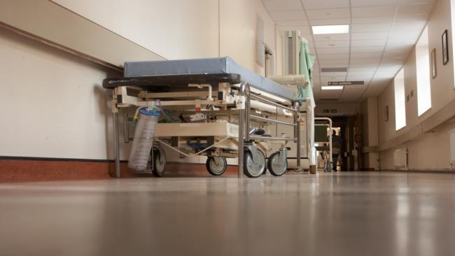 a gurney in a hospital hallway