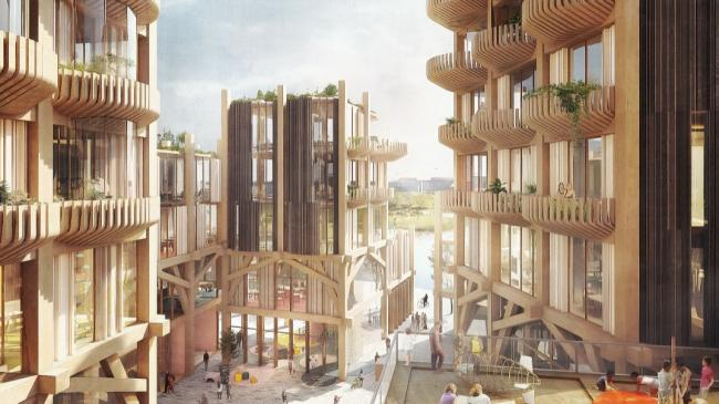 an artist's rendering of a wood building complex