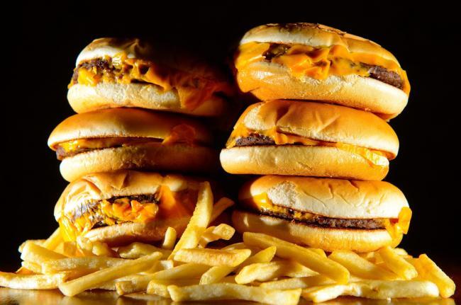Pile of cheeseburgers