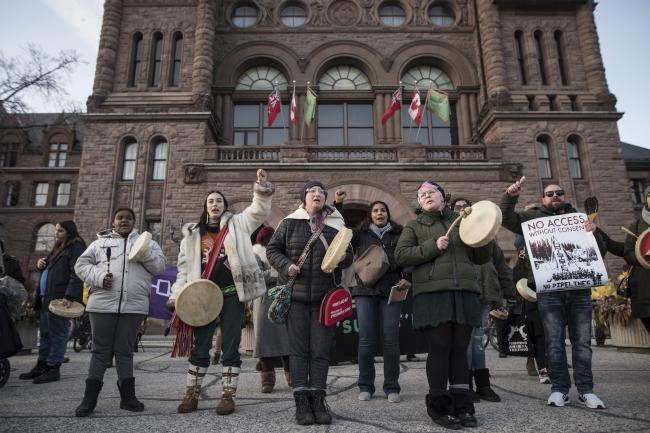 Demonstrators gather outside Queen's Park on February 17 in support of Wet'suwet'en hereditary chiefs.