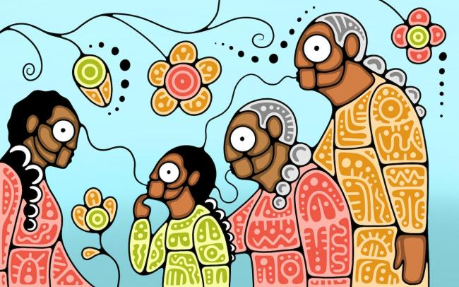 illustration of people talking, with flowers