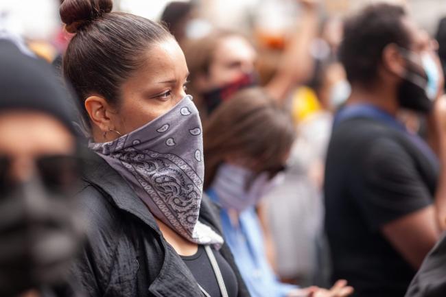 A protestors at the Black Lives Matter — Justice for Regis march