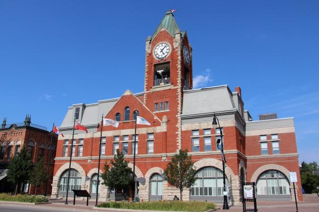 red brick building with clock tower