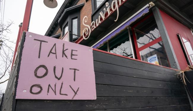 Take Out Only sign on a restaurant