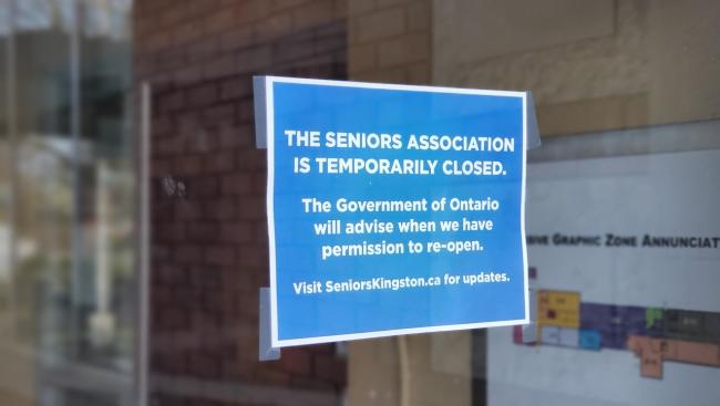 closure sign at a seniors centre