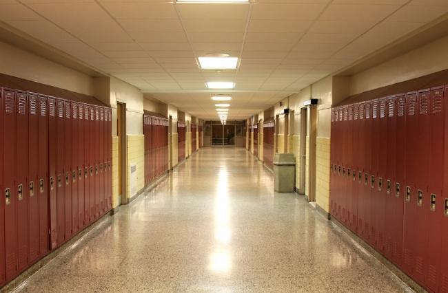 empty high-school hallway