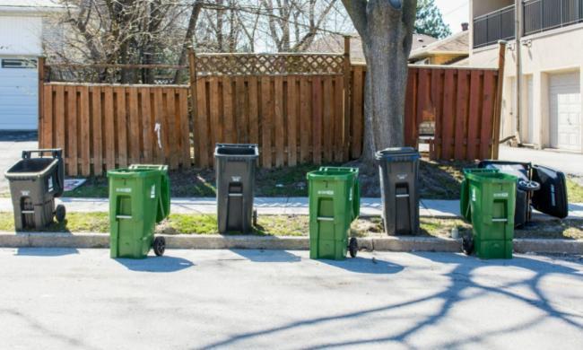 trash and green bins