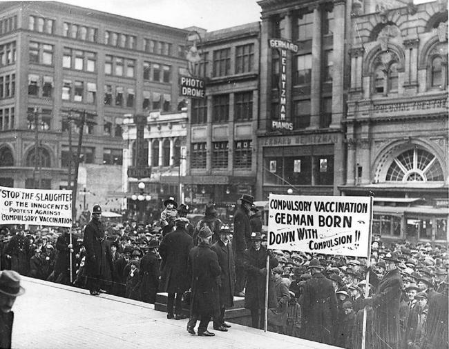 archive photo of vaccination protest