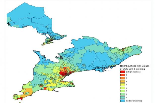 coloured map showing hot-spot communities in Ontario