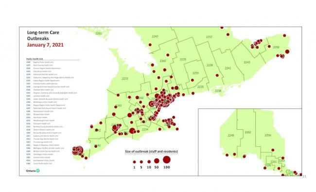 map showing LTC outbreaks as of January