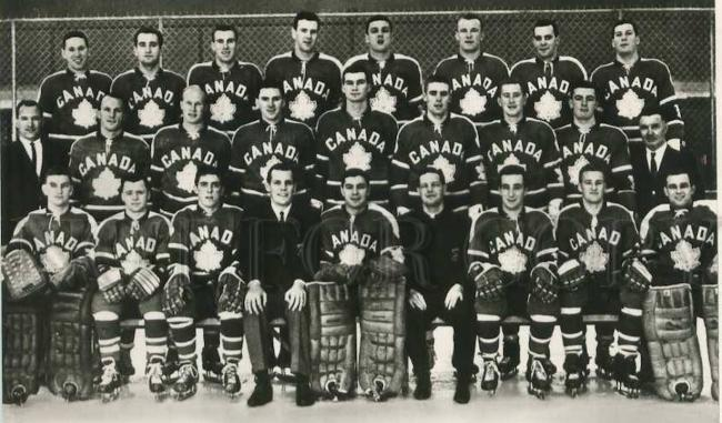 black and white photo of a hockey team wearing Canada jerseys
