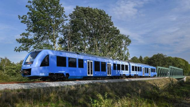 a blue train travelling past trees