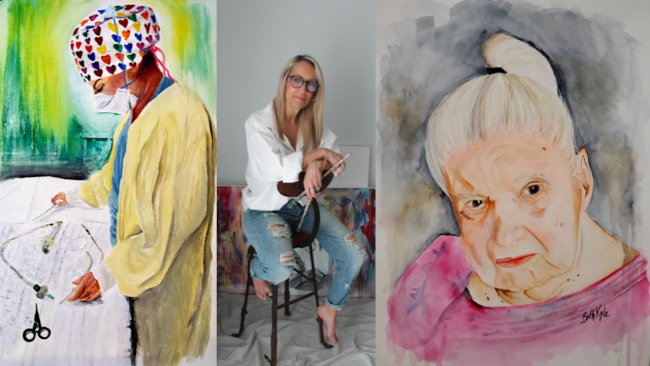photo of a woman sitting on a school surrounded by art supples; images of paintings of a medical worker and an older woman
