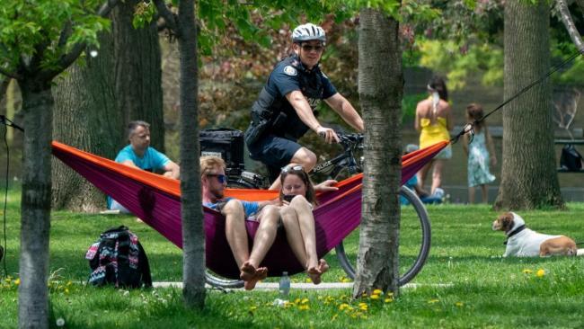 police patrolling park