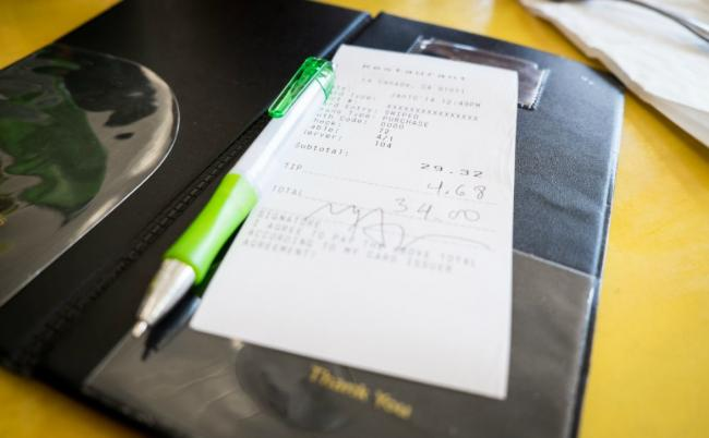 a meal receipt