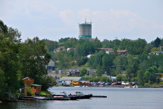An aerial shot of Red Lake, Ontario.