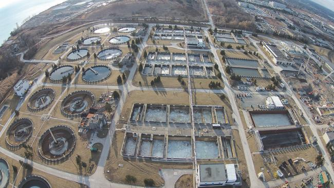 aerial view of a sewage-treatment plant