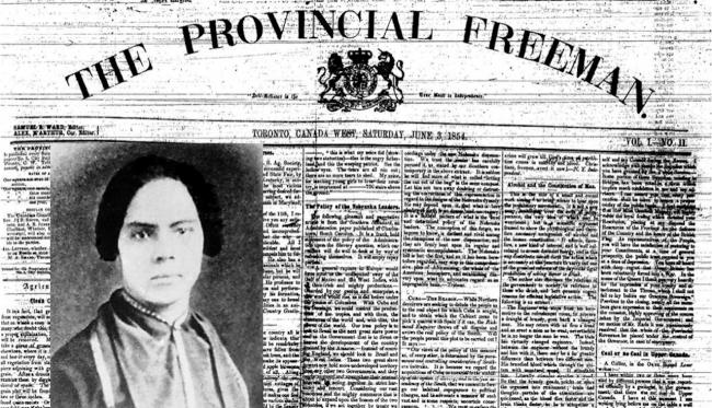 portrait of a woman set against a newspaper