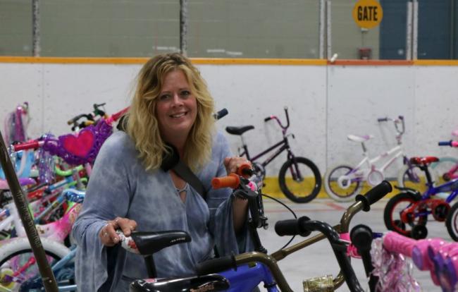 a woman and a bike