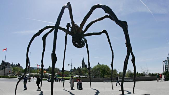 a giant black spider sculpture