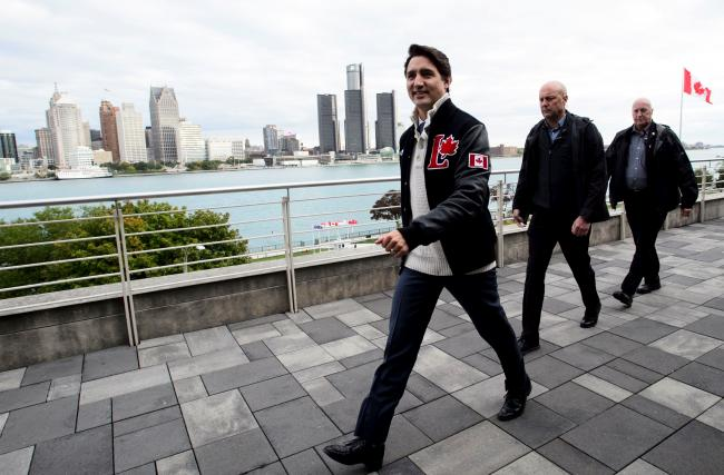 Liberal leader Justin Trudeau leaves an event at St. Clair College in Windsor on October 14.