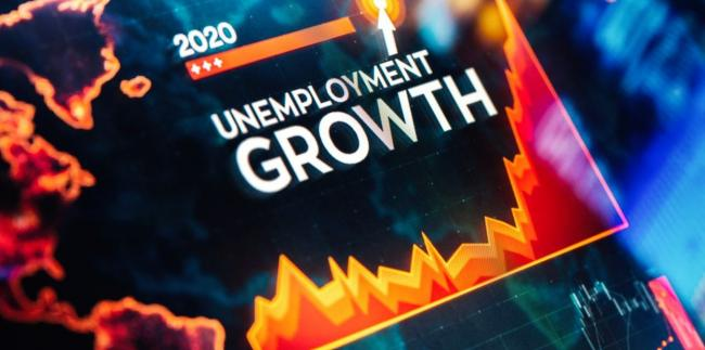 """Graphic showing line graph and words """"unemployment growth"""""""