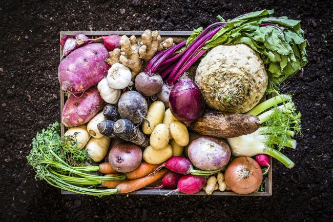 a box of vegetables