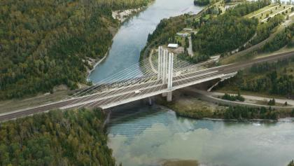 Illustration of what the completed Nipigon bridge will look like. from the article The 200-year-old decision behind the Nipigon bridge failure