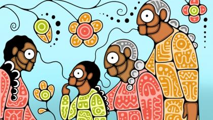 illustration of people talking, with flowers from the article 'For our children': How families are passing down Indigenous languages