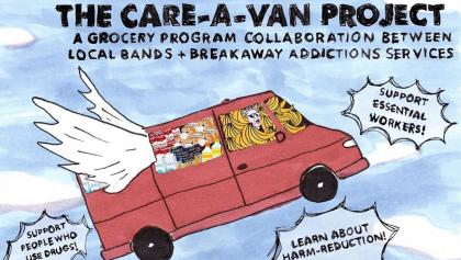 cartoon of a van with wings, with information about the Care-A-Van initiative from the article Toronto bands hit the road to help Ontarians in need