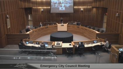 City-council chamber in Guelph from the article Are online council meetings good for democracy?