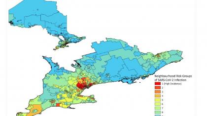 coloured map showing hot-spot communities in Ontario from the article Here's Ontario's revised Phase 2 vaccination plan