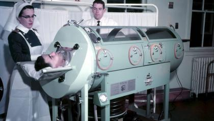 a patient in an iron lung from the article Correspondence courses and free clinics: How Ontario grappled with polio outbreaks
