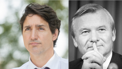 two photos (one black and white) of short-haired men from the article Some advice for Justin Trudeau, inspired by Bill Davis