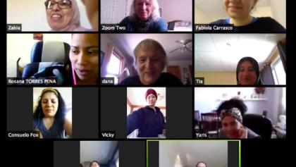 various people on a zoom call from the article How to adjust to a new country when it's adjusting to a pandemic