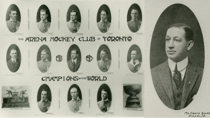 individual portrait shots of the Arenas hockey team on left; larger portrait of manager on right from the article The man who (almost) named the Toronto Maple Leafs
