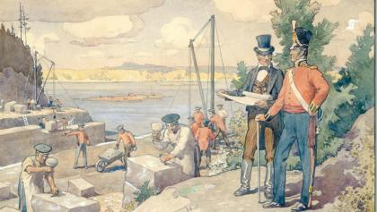 painting of men in uniform surveying workers by a body of water from the article 'Then the shaking begins': When malaria was a fact of life in Ontario