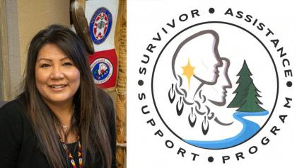 portrait of a woman on the left; logo of the Survivor Assistance Support Program on the right from the article 'They're not alone': Nishnawbe Aski Police Service launches program for victims of domestic violence