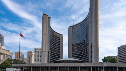 exterior of Toronto city hall from the article A city divided: Who voted for and against the Toronto police budget cut